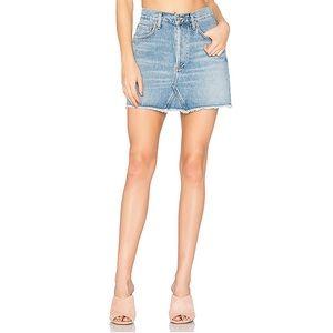 Agolde Quinn High Rise Mini denim Skirt in Devotee